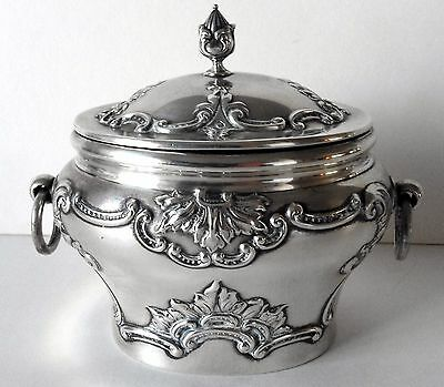 Victorian Sterling Silver Hallmarked Embossed Tea Caddy London 1899 Perfect