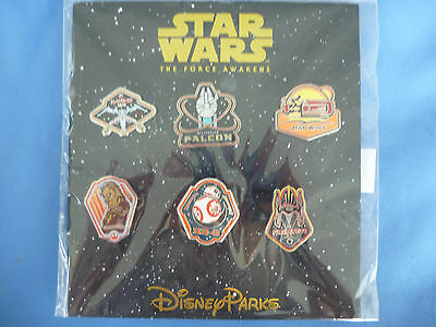 STAR WARS The FORCE AWAKENS  Disney  Pin SET of 6 2015    New on Card