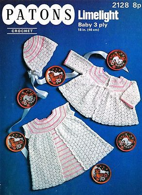 Vintage Baby Crochet Pattern copy Dress, Jacket and Bonnet in 3 Ply FREE Post