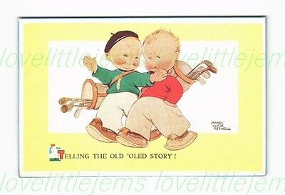 c1930 PPC Mabel Lucie Attwell Telling the old 'oled story! Golf Children 4589