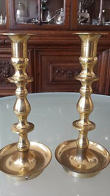 Pair Antique Shabbat Shabbos Brass Candlesticks
