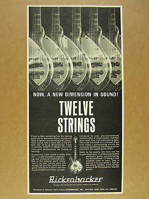 1966 Rickenbacker 12 String Electric Guitar vintage print Ad