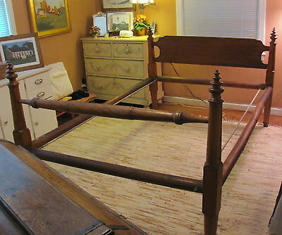 Antique Oak Rope Bed with Pine Tree Top Posts, Full Size