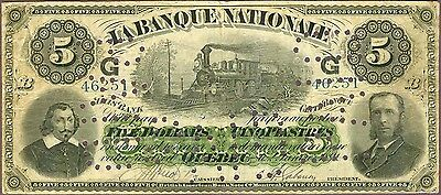 """Rare La Banque Nationale, $5, 1891, with """"G G"""" overprint!"""
