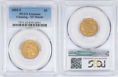1855-S Indian Head Princess Gold $3 PCGS Genuine XF Details