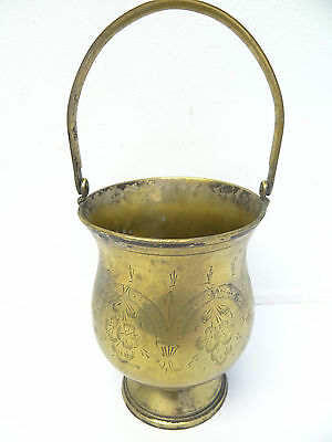 Antique Old Brass Metal Kitchen Serving Ice Bucket with Handle Chinese? China?