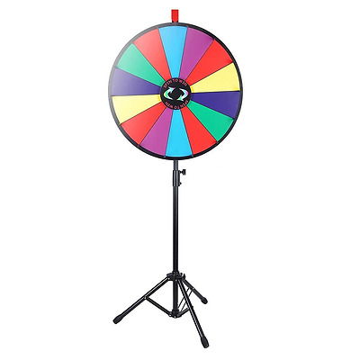 "WinSpin 24"" Color Prize Wheel Fortune w Folding Tripod Floor Stand Carnival Spin"