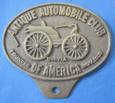 Antique Automobile Club of America license plate attachment brass style