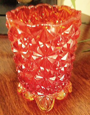 Vintage L. G. Wright Daisy & Button Amberina Rare  4-Toed Tall Toothpick Holder