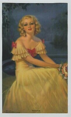 """Vintage 1930s-40s Woman Print """"Romance"""" Blonde Beauty in Yellow Evening Gown"""