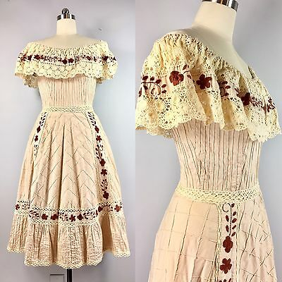 Vintage 1940s Mexican Embroidered Tiered Wedding Sun Dress Boho Lolita 38 bust