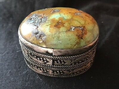 Small Old Antique French Art Nouveau Silver Plate & Agate Snuff Pill Box