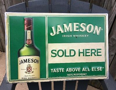 Large Jameson IRISH WHISKEY Sold Here Tin Sign Hard To Find Collectible Limited