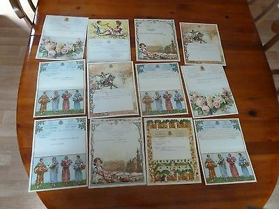 Vintage Belgium Lithograph Telegram lot of 12 1940s