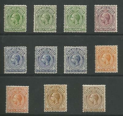 FALKLAND IS BET SG60a-65b  1912-20 GV  TO 1/- INC SOME SHADES  C.£255