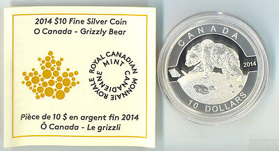 2014 Grizzly Bear  O Canada Proof $10 Silver Coin .9999 Fine No Tax