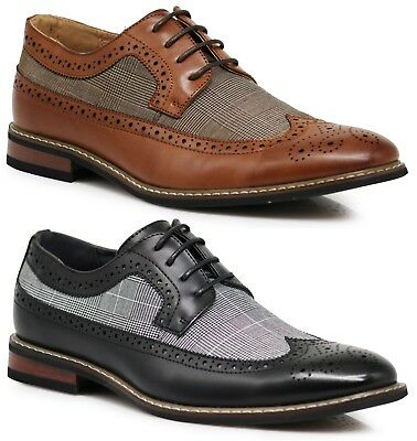 Men Dress Shoes WingTip Oxford Leather Lined Lace Up Black Brown Titan-1