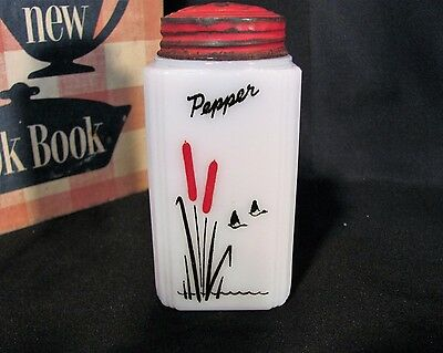 "Tipp Milk Glass CATTAIL Pepper Shaker 4 3/5"" Tall  HTF"