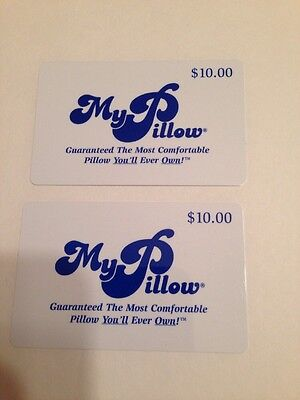 Two $10 My Pillow Gift Card