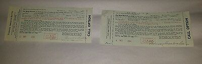 Put and Call Stock Options - NYSE - 1967 - Stock Transfer Stamps Intact