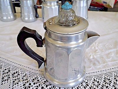 Vintage Toy Aluminum Coffeepot Percolator Glass Top Painted Black Wood Handle