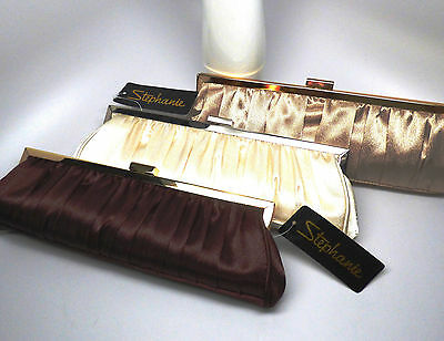 Nite Bags Satin Baguette Evening Clutch Purse - Brown, Ivory or Bisque FREE SHIP