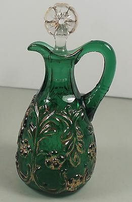 Emerald Green Beaumont Flora Cruet W/ Gold Highlights & Original Flower Stopper
