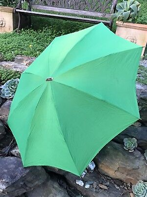 Vintage KNIRPS TELESCOPIC UMBRELLA Compact Emerald Green in Vinyl Cover Nyltest