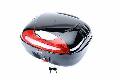Black Motorcycle Scooter Trunk Top Tail Luggage Bag Case Box Rack W Lock & Light