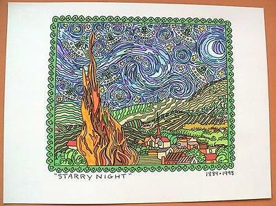 Farblithographie James Rizzi 1998 : 2D Rizzi 1998 Starry night