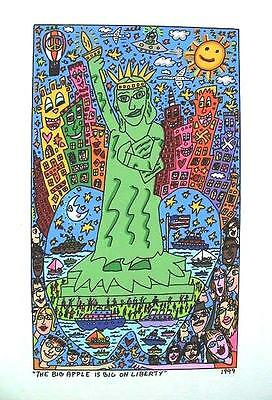 Farblithographie James Rizzi 1999: 2D The big apple is big on liberty