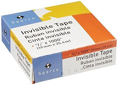Sparco Invisible Tape 3/4 x 1000 Inches 1-Inch Core 12-Pack Clear SPR60050 Other