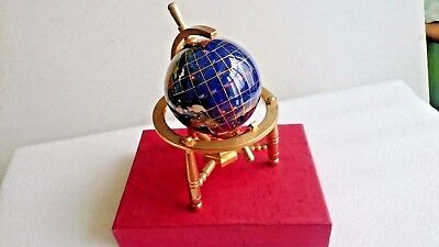 6'' Gem Stone Globe Semi Precious Stones (With Gold Plated Stand). Boxed