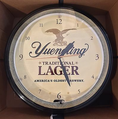 "Yuengling Traditional Lager Neon Wall Clock Sign 20"" Diameter - Brand New In Box"