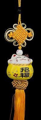 Suspension Maneki Neko-chat Japonais- Porte Bonheur-grand Modele- Jaune -522-SD5