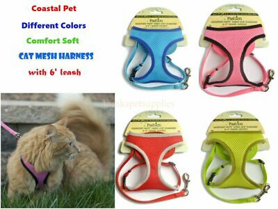 COASTAL- 4 Colors-Comfort Soft Mesh Cat Harness with 6' Leash-FREE SHIP FROM USA