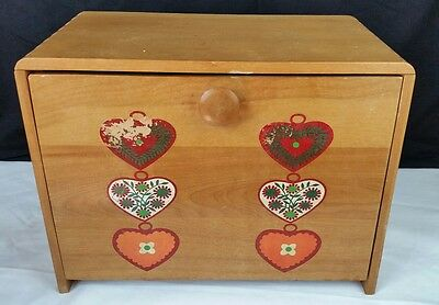 Vintage Wood BREAD BOX With flip down door Cutting Board, Painted heart Designs.