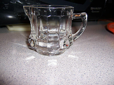 Vintage Clear Glass Ribbed Post Ceral Measured Creamer Cream Pitcher