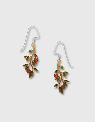 Lemon Tree Branch Earrings Olive Leaves Red Berries Sterling Silver Hook
