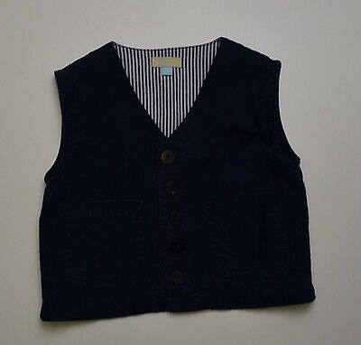 C104 Monsoon Boys  Navy Linen Blend Waistcoat Age  18-24 Months