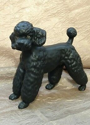 Vintage Lefton Black Ceramic Porcelain French Poodle Dog Figurine #7326