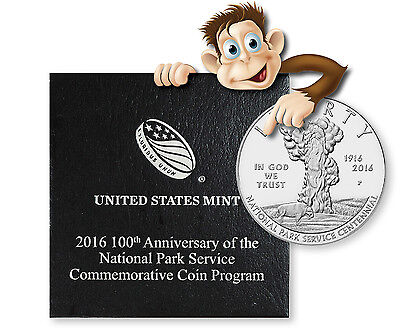 2016-P 100th Anniversary National Parks Proof Silver Dollar w/ Box and COA