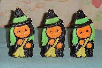 vintage Halloween SUNI WITCH CANDLE LOT x3