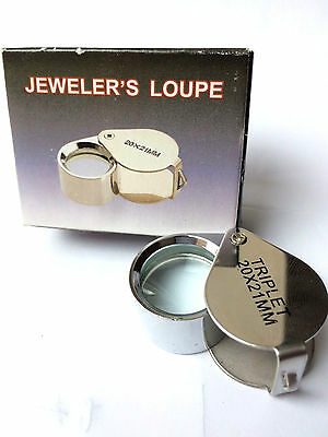 Jewelers Eye Loupe Magnifier Magnifying Glass Foldable Jewelry  20x21mm
