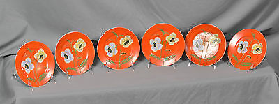 """Handpainted Orange Poppy Plates 6"""" Wide Made in Japan Lot of 6 Pieces"""
