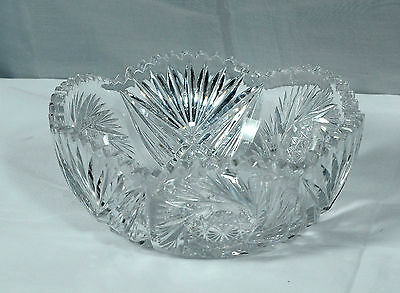 ABP Cut Glass Crystal Bowl Hobstar Starburst and Diamond Design