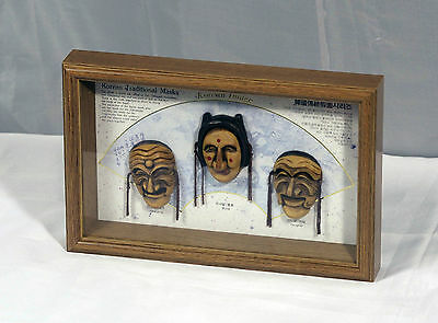 Shadow Box of Three Korean Images in a Wooden Box