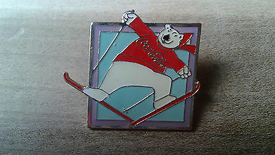 Coca Cola Enamel Hat Pin Polar Bear Ski Jumping Skiing