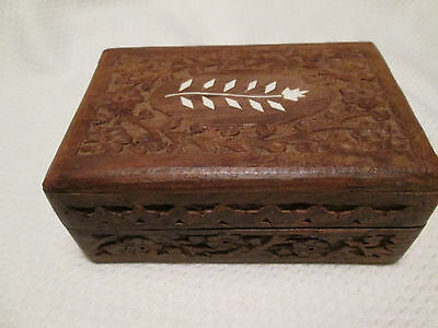 Vintage Box Wood Carved Hinged Lid  With Inlay