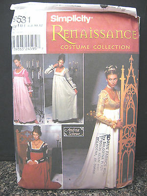 Simplicity 9531 Sewing Pattern Renaissance Medieval Costume Dress Reenactment